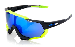 100% Speedtrap - Polished Black/Matte Neon Yellow - Electric Blue Mirror