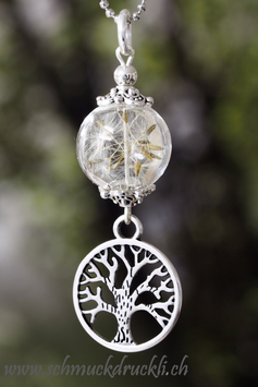 242 Mini Glashohlperle mit echten Pusteblumen / Lebensbaum