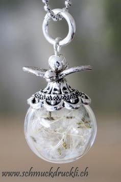 250  mini Glashohlperle mit echten Pusteblumen