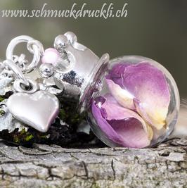 159 kleine Glashohlperle mit echten Rosenblüten / Krone