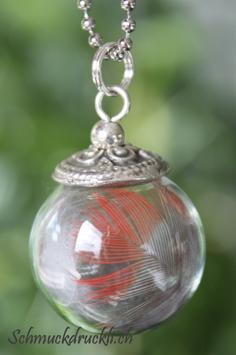 221c kleine Glashohlkugel mit Federchen Pennantsittich rot/grau