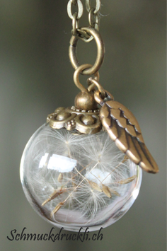 400 kleine Glashohlperle mit Pusteblumen und Engelsflügelchen bronzefarben