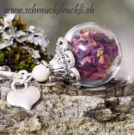 163G  mini Glashohlperle mit Rosenblüten dunkelpink