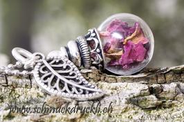 169O micro Glashohlperle mit Rosenblüten
