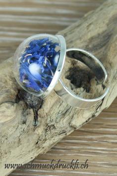 292 Ring klein mit Kornblumen blau
