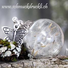 230 grosse Glashohlperle mit echten Pusteblumen und Schmetterling