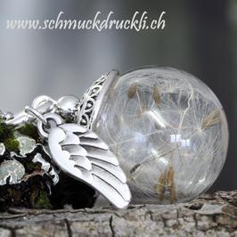 239 kleine Glashohlperle mit echten Pusteblumen und Engelsflügelchen