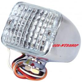 Mini feu à LEDS avec glace blanche (6,3 x 4,5 x 5,1cm) avec 3 fonctions (position / freinage / clignotant)