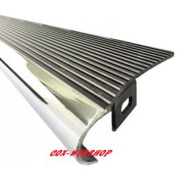 2 marchepieds aluminium noir brillant, stries polies avec bord poli