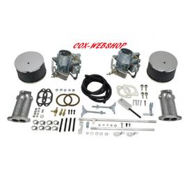 Kit doubles carburateurs EMPI 40mm type Kadron avec tringlerie à pivot central pour moteur T1