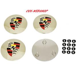 Set de 4 centres avec logo STUTTGART pour enjoliveurs style 356