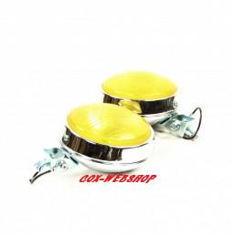 set de 2 phares anti-brouillard 4'' chromés 12volts avec vitre jaune