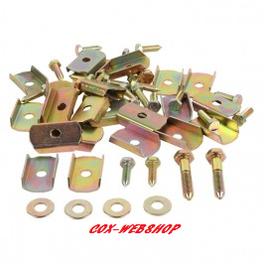 kit complet de fixation chassis/caisse cox pour 1 côté (11 vis + 11 cales + 2 grandes vis)