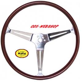 """volant FLAT 4 GT 3 branches chromées et tour bois diamètre 15 1/2"""""""