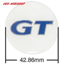 Set de 4 autocollants de caches-moyeux GT bleu/blanc (diamètre 43mm)
