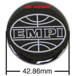 Set de 4 autocollants de caches-moyeux EMPI noir/gris (diamètre 43mm)