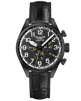 Russische Fliegeruhr Chronograph AVIATOR AIRACOBRA P45 CHRONO Quarz, Saphirglas, Volmax, Swiss Made, Edelstahl, schwarz PVD beschichtet, ø45mm