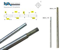 Standard-Derulè-Achse mit Befestigungsrillen & Gewinde