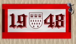 Köln 1948 Zahlen Schlicht Wappen Strandtuch