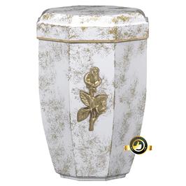 Edelplatal Urne weiß antik gold patiniert mit Rose und Goldband