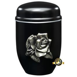 Edelplatal Urne in schwarz mit silberner ROSE und Silberband am Deckel