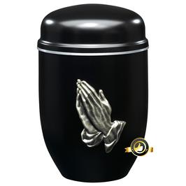 Edelplatal Urne schwarz mit Emblem BETENDE HÄNDE und Silberband