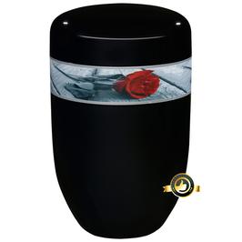 Edeplatal Urne schwarz, Motiv ROSE DER ERINNERUNG