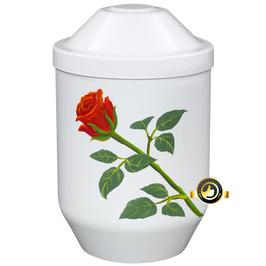 Bio Urne weiß mit Rose