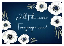 Postkarte Willst du meine Trauzeugin sein? Geschenk für Trauzeugin Blau Aquarell Anemone