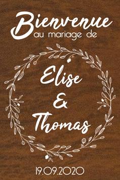 Panneau de bienvenue mariage en bois - Collection couronne de fleurs champêtre