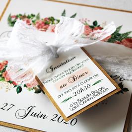 Coupon faire-part de mariage fleuri et romantique - Collection Victoire