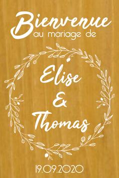 Stickers Panneaux de bienvenue mariage - Collection couronne de fleurs champêtre