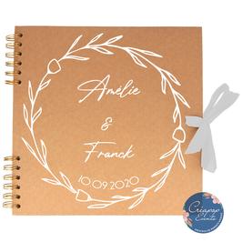 Livre d'or de mariage - Album kraft -  Thème Champêtre et Couronne eucalyptus