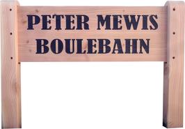 Holzschild Boulebahn