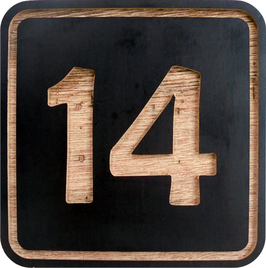 Holzschild Nummerierung aus einer Siebdruckplatte, Betoplan