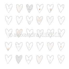 "Designpapier ""Herzen Liebe"" - Alexandra Renke"