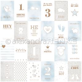 "Designpapier ""Kärtchenbogen Blau Baby International"" - Alexandra Renke"