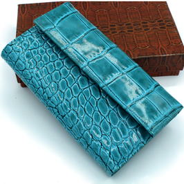 Women's Leather wallet Elegant Turquoise