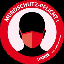 """Aufkleber """"Mundschutz-Pflicht"""""""