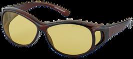 Überzieh - Sonnenbrille 7782 - Havanna braun mit gelben Gläser