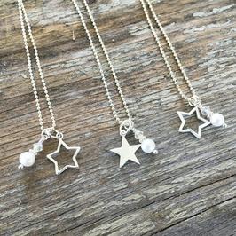 Halskette mit Stern- und Süsswasserlen-Anhänger