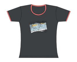 Froen-T-Shirt Seekarte grau/rosa