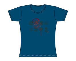 Froen-T-Shirt Grau-Blau Qualle