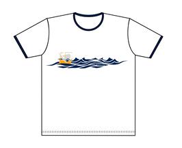 Keerls-T-Shirt Weiß-Blau Kogge Meer