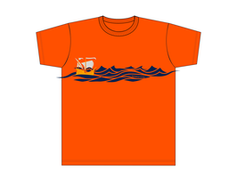 Kinners-T-Shirt Orange Kogge auf Meer