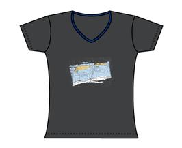 Froen-T-Shirt Seekarte grau/blau