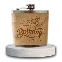 "Edelstahl Flachmann ""Happy Birthday"""