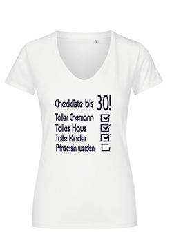"""T-Shirt """"Checkliste zum 30. Geburtstag"""""""