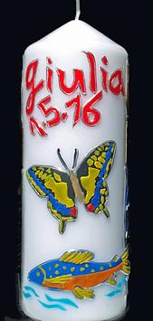 Taufkerze vier Elemente, Krafttier Schmetterling und Lachs