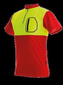 Zipp-Neck Shirt kurzarm rot/gelb